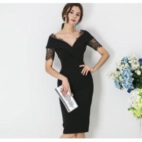 レース切替 ミディアムワンピースでエレガントで上品な印象 ドレス タイト 結婚式 パーティー