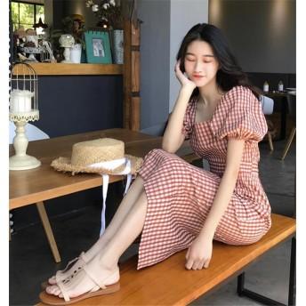 追加 限定発売 高品質で 正規品 韓国ファッション/CHIC気質/おしゃれな/スクエアネック/夏季/格子縞/小さい新鮮な/レトロ/ワンビース