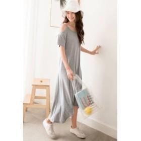 セクシーな肩見せワンピース☆ ストラップレス ロングドレス 裾フリル 無地 シンプル カジュアル レジャー デート