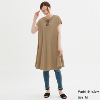 (GU)Aラインミディワンピース(半袖) BROWN XL