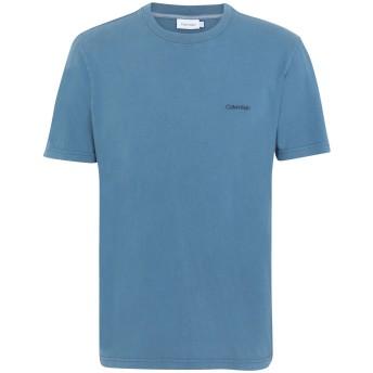 《期間限定セール開催中!》CALVIN KLEIN メンズ T シャツ ブルーグレー S コットン 100% GARMENT DYE LOGO T-S