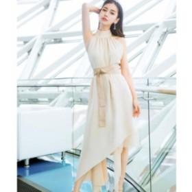 ホルターネック  イレギュラーヘムスカート  ドレス♪ お呼ばれ 大人かわいい ワンピース 結婚式 ドレス フォーマルドレス パーティード