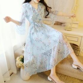 夏ワンピース 花柄ワンピース ドレス レディースワンピ シフォンワンピ ビーチ ひざ下 五分袖