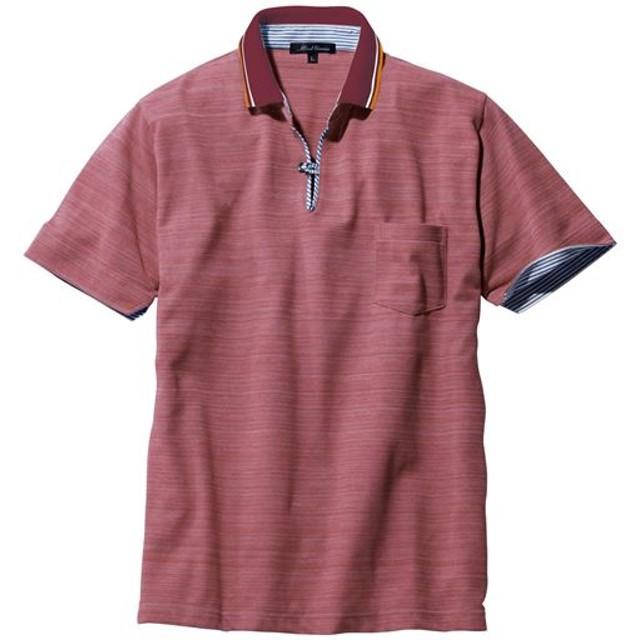 【メンズ】 ベストセラー! ドライ・スキッパー風デザインポロシャツ - セシール ■カラー:ワイン系 ■サイズ:3L,7L,M,L,S,LL,5L