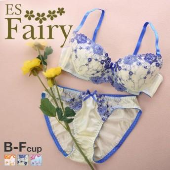23%OFF (エスフェアリー)ESFairy フレグラント ブラジャー ショーツ セット BCDEF プチプラ 大人可愛い 大きいサイズ