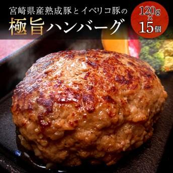 宮崎県産熟成豚とイベリコ豚のハンバーグ120g×15個(120g×15個)