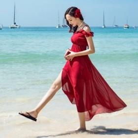 ビーチ ワンピース レディース 赤色 マキシワンピース 夏 リゾート マキシワンピ ハワイアン