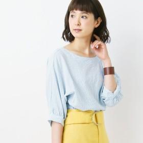 シャツ ブラウス レディース ナチュラルな素材感のボリューム袖ブラウス 「ライトブルー」