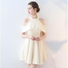 ホルターネックで女性らしく イブニングドレス ミニ丈 シンプル 無地 送  料無料
