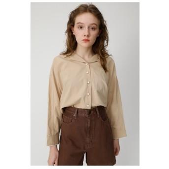 マウジー moussy OPENCOLLARLONGSLEEVEシャツ (ライトベージュ)