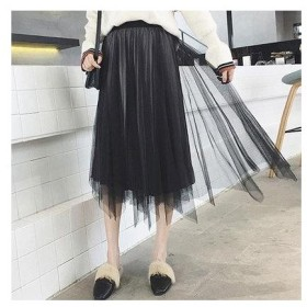 チュクラ chuclla チュールスカート スカート 膝丈 2WAY (ブラック)
