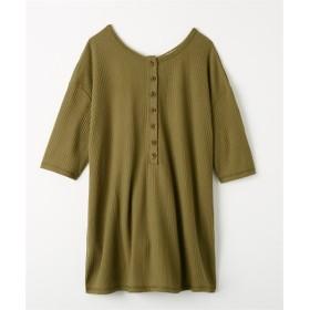 秋までOK!ヘンリーネック二の腕まで隠れる5分袖ワッフルトップス (Tシャツ・カットソー)(レディース)T-shirts