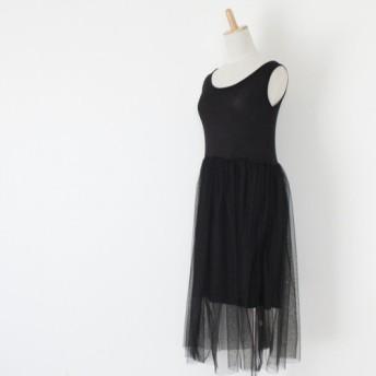 【送料無料】 伸縮性に優れた レーススカートの黒のインナーワンピース