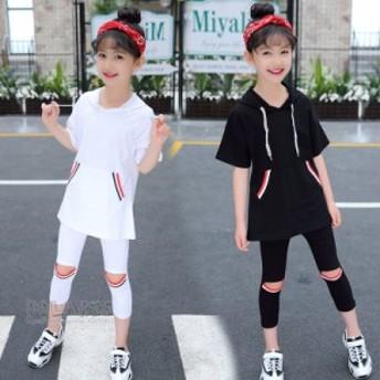 キッズ セットアップ 女の子 2点セット 半袖Tシャツ+パンツ 韓国子供服 ファッション感 カジュアル こども 可愛い おしゃれ