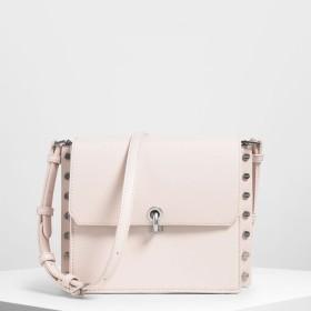 リバーシブルフラップ クロスボディバッグ / Reversible Flap Crossbody Bag (Light Pink)