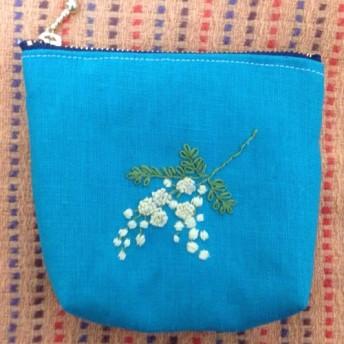 ミモザの刺繍ポーチ☆ミニサイズ
