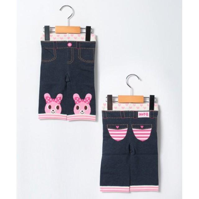 (MIKI HOUSE HOT BISCUITS/ミキハウスホットビスケッツ)おひざにビーンズ&キャビット☆7分丈スパッツ(80-100cm)/レディース ピンク