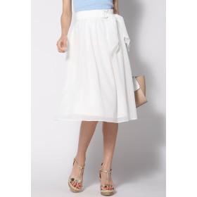 QUEENS COURT 【大きいサイズ】共ベルト付きタックフレアスカート その他 スカート,ホワイト