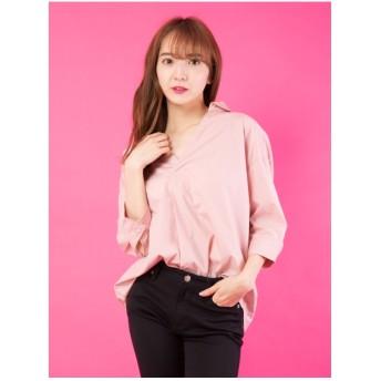 CECIL McBEE 背中バックルスキッパーシャツ ピンク