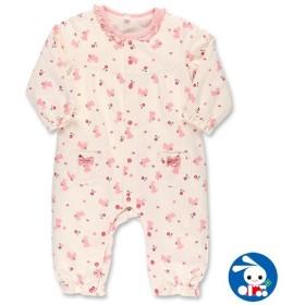 ベビー服 女の子 ミニ裏毛うさぎ総柄カバーオール 70cm・80cm 赤ちゃん ベビー 新生児 乳児 幼児 子供服 おしゃれ