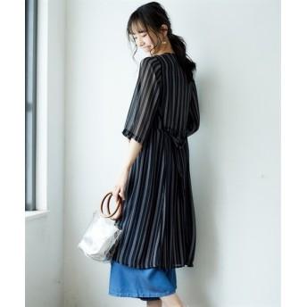 共布ベルト付7分袖ロング丈シャツガウン (ブラウス),Blouses, Shirts