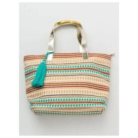 【チャイハネ】キラ織り横長トートバッグ ベージュ