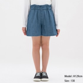 (GU)GIRLSデニムキュロット BLUE 130