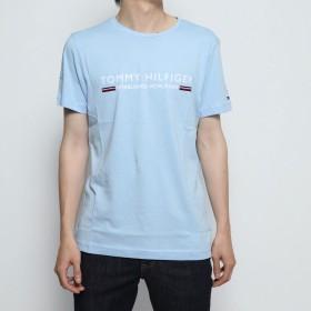 トミーヒルフィガー TOMMY HILFIGER コットンロゴTシャツ (ライトブルー)