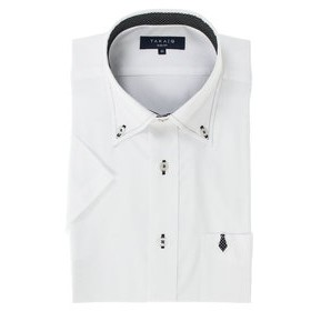 【TAKA-Q:トップス】形態安定スリムフィット ブートニー付ボタンダウン半袖ビジネスドレスシャツ