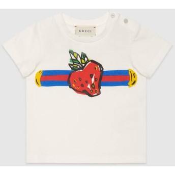 〔ベビー〕ウェブ&ストロベリー プリント Tシャツ