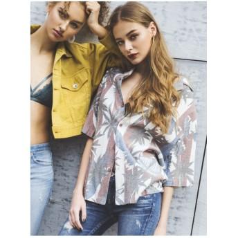 ジェイダ GYDA リゾートグラフィックBIGシャツ (レッド)