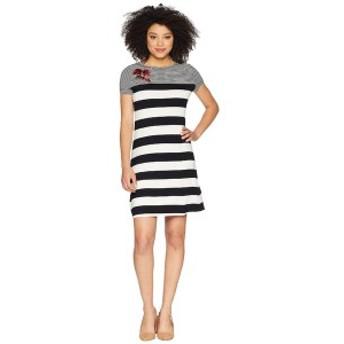 カルバンクライン レディース ワンピース トップス Stripe Dress w/ Embroidery Black/White Stripe