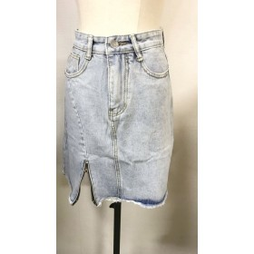 デニムスカート - shoppinggo デニムスカート ダメージ 不規則 着痩せ シンプル ペンシルスカート