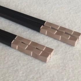 箸 市松 白×溜塗(長さ21.5cm)