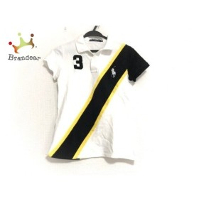 ラルフローレンゴルフ 半袖ポロシャツ サイズM レディース 美品 白×黒×イエロー 新着 20190605
