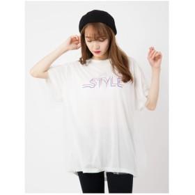 CECIL McBEE ロゴレースTシャツ オフホワイト