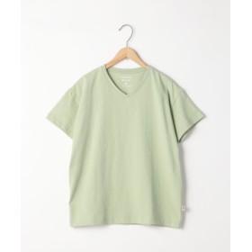 (coen/コーエン)USAコットンリラックスVネックTシャツ/レディース LIME