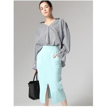 LocoChica ポケット付きニットスカート ブルー