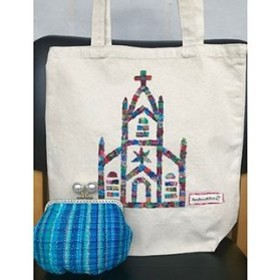 手織りパッチワークの帆布トートバッグと手織りのがま口ポーチ