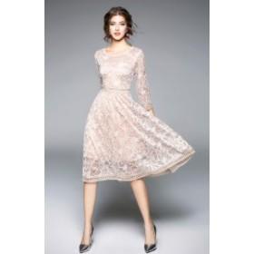 花柄 刺デザインのワンピースで存在感を引き立たせる 膝下丈 ドレス 七分袖 ワンピース レース 透け感 ハイウエスト 結婚式 パーティー