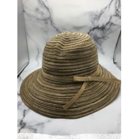 つば広 折りたたみ 携帯ハット 紫外線カット 旅行用 帽子 日よけ ナチュラル 紫外線対策 熱中症対策 ブラウン系 ストライプ