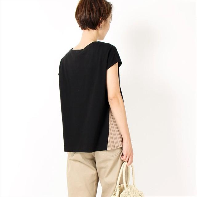 カットソー - amiette サイドプリーツ フレンチプルオーバー デザイン切替 綿100% レディース トップス Tシャツ
