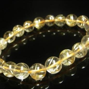 オススメ お試し価格 一点物 ゴールドルチル ブレスレット 金針水晶 天然石 数珠 10ミリ R37 開運招来