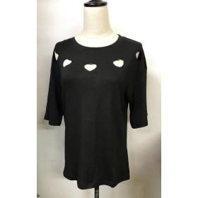 Tシャツ - shoppinggo Tシャツレディース カットソー 大きいサイズ 伸縮性 丸首 ハート 体形カバー