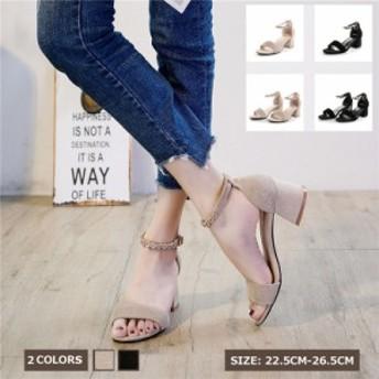 チャンキーヒールサンダル 大きいサイズ 夏サンダル シューズ 美脚サンダル レディース ビック 2種デザイン 痛くない 歩きやすい 婦人靴
