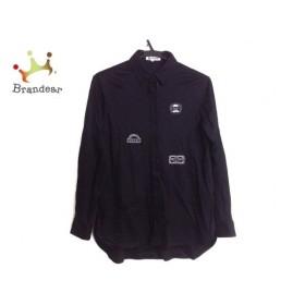 ピッコーネ PICONE 長袖シャツブラウス サイズ38 S レディース 黒×ライトグレー 刺繍 新着 20190605