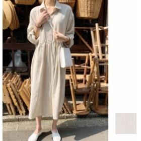 韓国 ファッション レディース ワンピース 夏 春 カジュアル naloF234 マキシワンピース リゾートワンピース ハワイ リネン ギャザー 切
