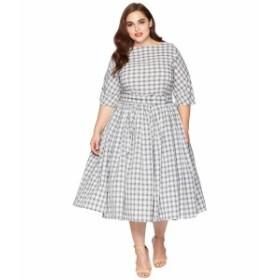 ユニークビンテージ レディース ワンピース トップス Plus Size 1940s Style Sleeved Sally Swing Dress Grey Plaid