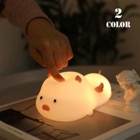 ライト ナイトライト タッチ式 タッチライト ブタ シリコン USB 充電 やわらかい かわいい 癒し プレゼント 贈り物 寝室