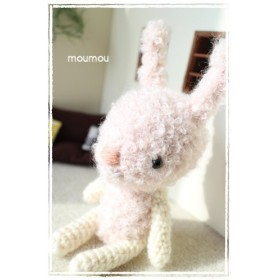 お着替えできるあみぐるみシリーズ☆ピンク×白のほんわかうさぎ(Lサイズ)
